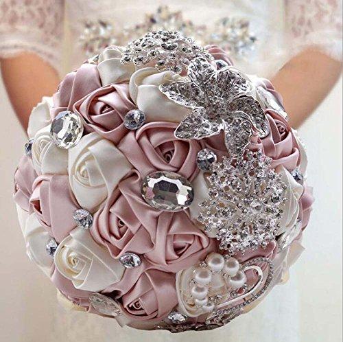 Künstliche Rhinestone-Brosche-Perlen-Bouquet-Braut-Handholding-Blumen, die Dekorations-Versorgungsmaterialien romantisch heiraten ( Color : European Gold )