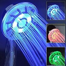 Alcachofa de ducha, LED cabeza de ducha de mano de color Control de temperatura Luz 3 Colores