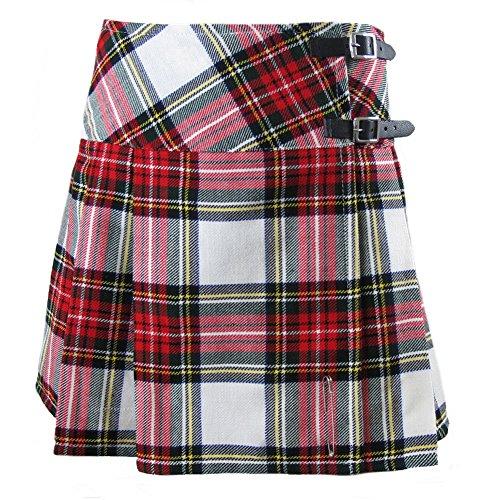 Tartanista - Schottischer Kilt mit Lederriemen & gratis Kiltnadel - Dress Stewart - 42 cm (16,5') -...