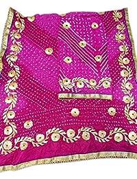 Jaipuri Rajasthani Suit Art Silk Bandhej Gota Patti Work Rani Pink Color - B077SK45X8