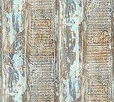 A.S. Création Vliestapete Best of Wood`n Stone 2nd Edition Tapete in Vintage Holz Optik fotorealistische Holztapete maritim 10,05 m x 0,53 m blau braun grün Made in Germany 354131 35413-1, 10.05 0.53 m