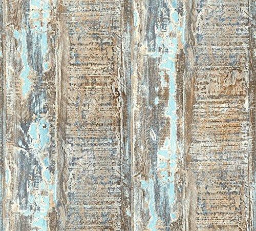 A.S. Création 354131 Vliestapete Best of Wood`n Stone 2nd Edition Tapete in Vintage Holz Optik fotorealistische Holztapete maritim 10,05 m x 0,53 m Made in Germany 35413-1, Blau, Braun, Grün, 10.05 m x 0.53 m