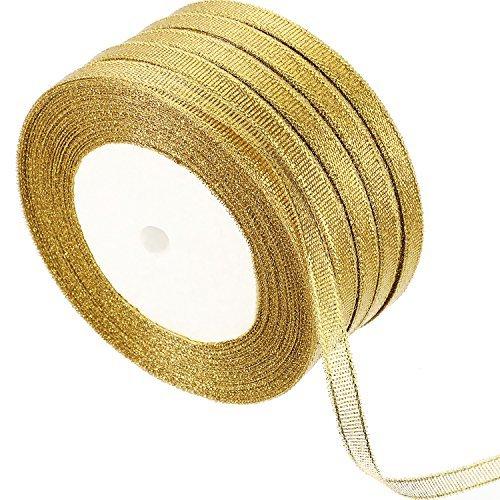 5 Rollen 0,24 Zoll Glitter Bänder Metallisch Bänder für Handwerker Geschenke Verpackung Dekorationen DIY Kunsthandwerk Kunst (Gold Bänder) (Kordel Gold)