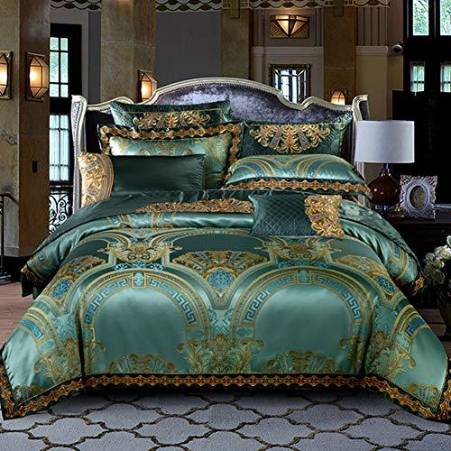 JR%L Europäische-Stil Bettwaren Mit Reißverschluss Beziehungen, 4 Stück Bettwäsche Cover Sets Gedruckt Moderne Bettbezug Königliche Art Tröster Abdeckung-a Queen1 -