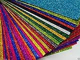 Kit 6 Fogli in Schiuma con Brillantini, Formato A4, Colori Assortiti
