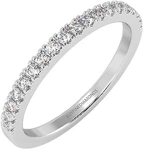Set anelli mezza eternità da 0,15 ct, rotondo sottile micro pavé di diamanti in oro bianco