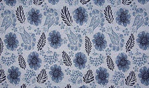 Qualitativ hochwertiger Jacquard, Strickstoff mit Blumen und Federn, Blau, als Meterware zum Nähen von Erwachsenen, Kinder- und Baby Kleidung, 50 cm