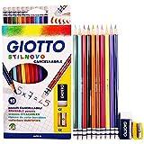 Giotto Stilnovo sechseckige Buntstifte, ausradierbar, 10Stück + Spitzer + Radiergummi
