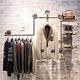 GJymj Kleiderständer, Schuhregal, Taschenregal, Bekleidungsgeschäft-Gestelle, Retro Eisen-Wasserrohr-Kleidungs-Ausstellungsstand, hölzerner an der Wand befestigter hängender Ausstellungsstand