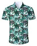 Goodstoworld Camicia Uomo Estive Hawaiana Camicie Fiori Tropicale 3D Stampa Manica Corta Classica Mare Shirt Leopard...