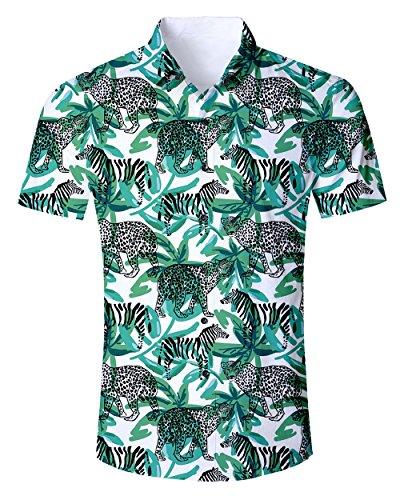 Goodstoworld Kurzarmhemd Herren Gepard Hemd Kurzarm Freizeithemd Sommer Hippie Reisehemd mit Bunte Hawaii Style Blumenmuster