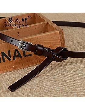 SILIU*La Sra. correa de cuero cuero casual elegante decorado al atador finos cinturones hebilla ventral , color...