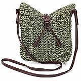 Hrph La nueva manera tejida los bolsos de hombro de la paja del verano de las mujeres de la armadura de crossbody