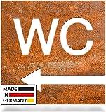 INOXSIGN Vintage WC-Schild Pfeil-Richtung Links W03R – Selbstklebendes Retro Toiletten-Schild – klar erkennbar und werkzeuglose Montage – Unisex Kloschild – Shabby chic – Made in Germany