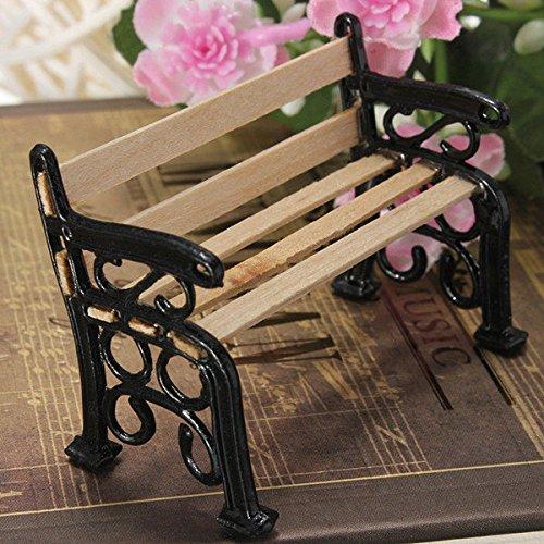Preisvergleich Produktbild PhilMat 1.12 Holzbank Black Metal Puppenhaus Miniatur Gartenmöbel Zubehör