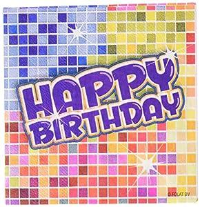 60.652-16 Servietten * Feliz cumpleaños * für Partido und Geburtstag // Kindergeburtstag Kinder Feier Fete Set Disco Servilleta Papierservietten