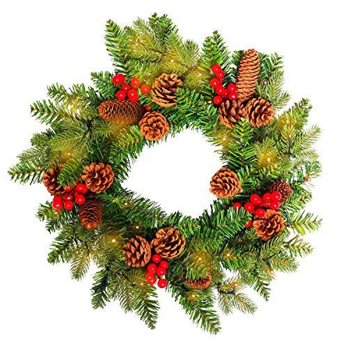 nz Türkranz mit Künstliche Roten Beeren und Tannenzapfen Weihnachtsdeko für drinnen und draußen zum Aufhängen an Türen Wänden & Treppen Hochzeitsdekoration(Ø45cm mit LED, Type A) ()