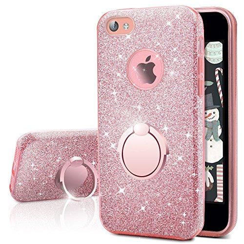 Cover iphone 4s, cover iphone 4, miss arts custodia glitter di in morbido tpu con interno in policarbonato ultra resistente, supporto rotazione a 360 gradi per apple iphone 4s/4 -oro rosa