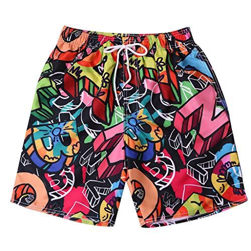 0a575d6434 MEETEW Mens Fashion Print Swim Trunks Surf Board Boxer Summer Cool Quick  Dry Board Shorts Elastic