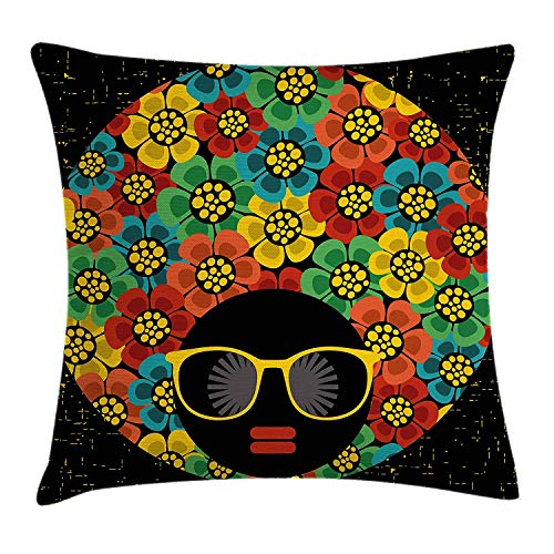 70s Party Throw Pillow Cushion Cover, Abstract Woman Portrait Hair Style with Colorful Flowers Sunglasses Lips Graphic, Decorative Square Accent Pillow Case, 26 X 26 inches, Multicolor