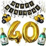 BELLE VOUS Set 40esimo Compleanno Decorazioni Palloncini Striscione Include Bottiglie Champagne Gonfiabili, Numero 40 Oro 101.6cm e Palloncini- Kit Decorazione Forniture Festa