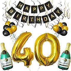 Idea Regalo - BELLE VOUS Set 40esimo Compleanno Decorazioni Palloncini Striscione Include Bottiglie Champagne Gonfiabili, Numero 40 Oro 101.6cm e Palloncini- Kit Decorazione Forniture Festa