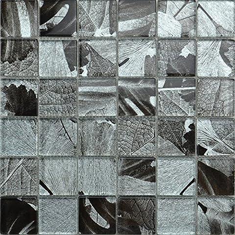 Glass Mosaic. Black Grey & Silver Leaf Design. Silver thread 3D Effect 30x30cm (Sample 7.5x15cm)