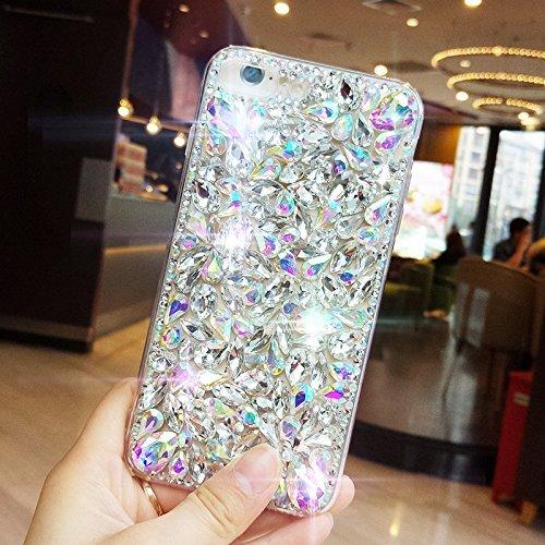 Custodia per iPhone 6 Plus/iPhone 6s Plus (5.5), EUWLY Bling Glitter Strass Silicone Custodia per iPhone 6 Plus/iPhone 6s Plus (5.5), Lusso Brillante Big Diamante Coperture Protettiva TPU Custodia C Glitter Strass, Bianco