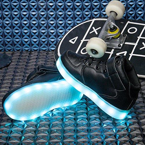 E Support™ Unisex 7 Farbe Farbwechsel USB Aufladen LED Leuchtend Sport Schuhe Hoch Sneaker Turnschuhe für Kinder Jungen Schwarz