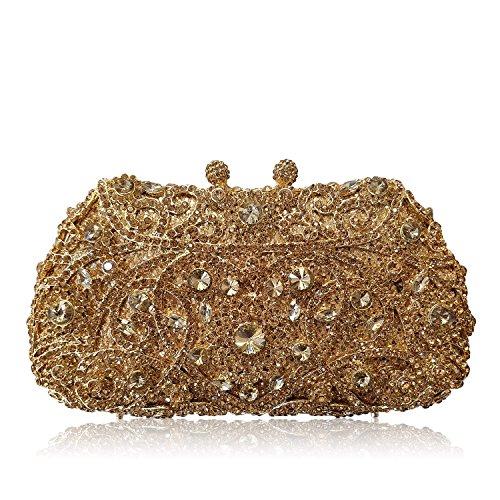 XYXM Dame Kupplung Luxus volle Bohrgerät Handtasche Metall handgemachte Kristall Tasche Kleid Pack Abendtasche deep gold