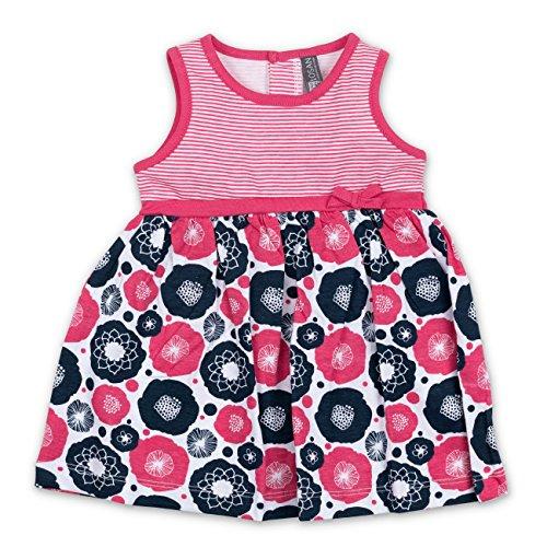 Sommer Kleid Streifen Blumen pink schwarz 12-18 Monate (80/86)