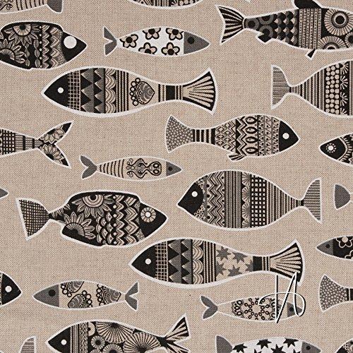 Natur / Schwarz Canvas An (MIRABLAU DESIGN Stoffverkauf Baumwolle Canvas schwarze Fische auf natur (25-003M), 0,5m)