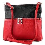 modamoda de - ital Umhänge-/Schultertasche aus Leder T144, Farbe:Rot/Schwarz