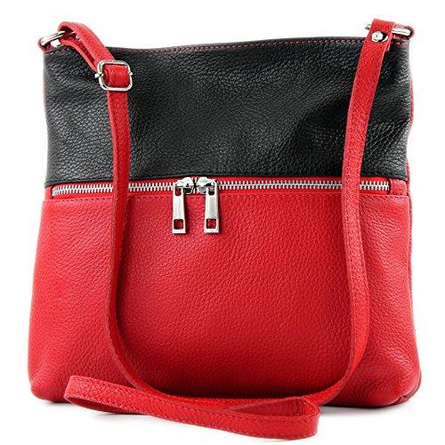 modamoda de - T144 - ital Umhänge-/Schultertasche aus Leder, Farbe:Rot/Schwarz -