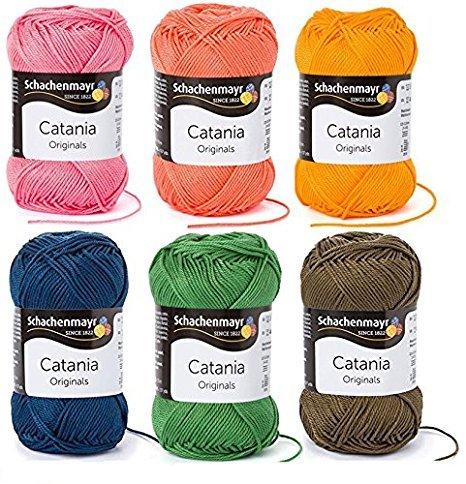 Woll-Set Baumwollgarn Schachenmayr Catania #3 - flower meadow, Wollpaket Baumwolle zum Stricken und Häkeln