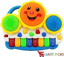 Smart Picks Drum Keyboard Musical Toys with Flashing Lights