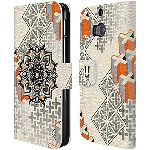 Head Case Designs Mandala E Croce Arte Puntiforme 2 Cover telefono a portafoglio in pelle per HTC One M8 / M8 Dual Sim / M8s - Croce Cucita Arte