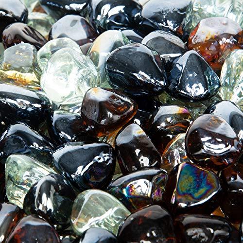 Stanbroil 0,3 kg 1/2 Feuerglas Diamanten Onyx Schwarz Kristall EIS Bernstein Glanz für Innen und Außen Gas Feuerstellen und Kamine -
