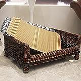 Whchiy Haustierbett aus Weidengeflecht, handgefertigt, mit weichem Pad und Kühlmatte, atmungsaktiv, für 4 Jahreszeiten