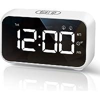 HOMVILLA Réveil Numérique LED avec Fonction Snooze, 2 Alarmes, Surface Miroir Rechargeable USB 12 / 24H pour Bureau de…