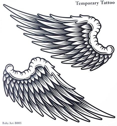 Ggsell, tatuaggio temporaneo adesivo grande per donna e uomo a forma di ali di angelo, non tossico impermeabile, dimensioni 21 cm x 22 cm