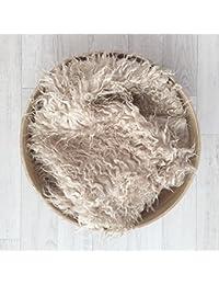 Pose bébé faux Flokati poils frisés beige 2 tailles au choix 80 x 50 cm,100 x 80 cm