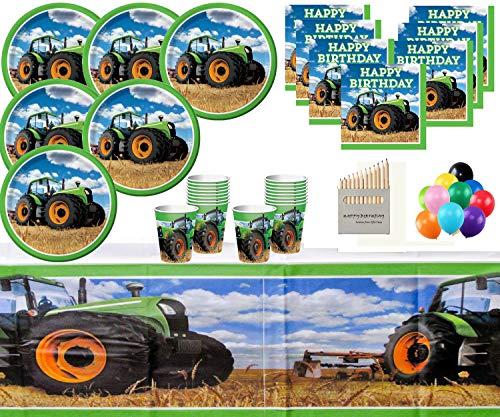 tags-Party liefert Fahrzeug-Partydekorationen für 32- Einweg Tractor Party Teller Cups Servietten ()