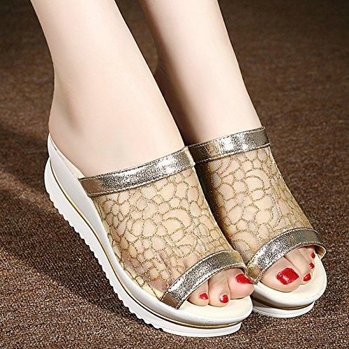 ZYUSHIZ Die Philippinen mit Sandalen Hausschuhe der Philippinen mit Mesh Frauen Schuhe High-Heel Dick 35EU