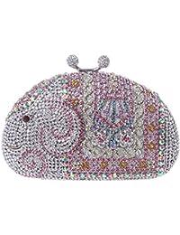 Damen Clutch Abendtasche Handtasche Geldbörse Luxus Funkelt Metall Muschel Tasche mit wechselbare Trageketten von Santimon Blau Santimon