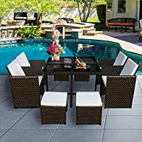 Panana 8 Seater Rattan Garden Furniture Set Dining Table and Chairs Stools Set Outdoor Patio and Conservatory Brown