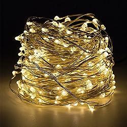 Cadena de LED de colores Salcar de 10 metros, micro alambre de cobre para navidad
