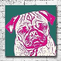 Cane carlino grande tela stampe. Cool Pop Art Decor amanti degli animali Pet divertente regalo, Green Pink, 30 x 30