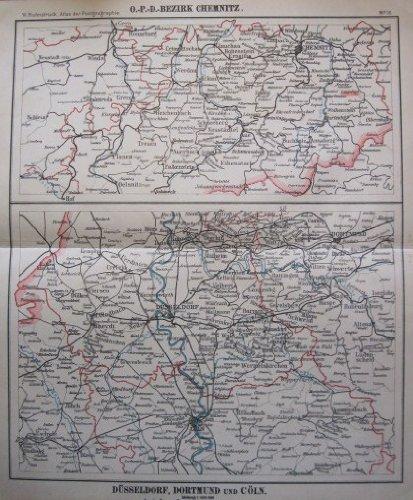 O.P.D. Bezirk Chemnitz / Düsseldorf, Dortmund und Cöln - Historische Karte von 1922 - Original !
