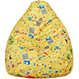 Amazon Brand - Solimo Jaunty Yellow XXXL Printed Bean Bag Cover Without Beans
